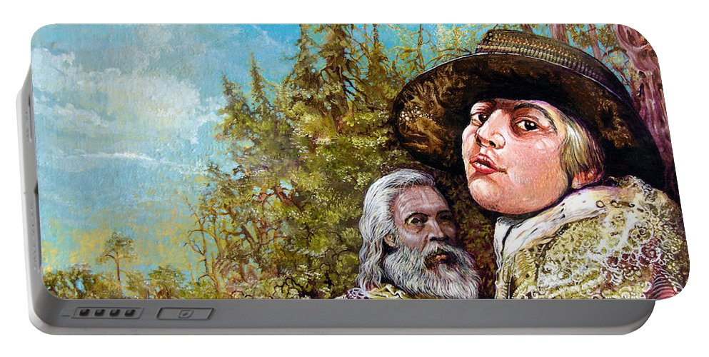 Surrealism Portable Battery Charger featuring the painting The Dauphin And Captain Nemo Discovering Bogomils Island by Otto Rapp