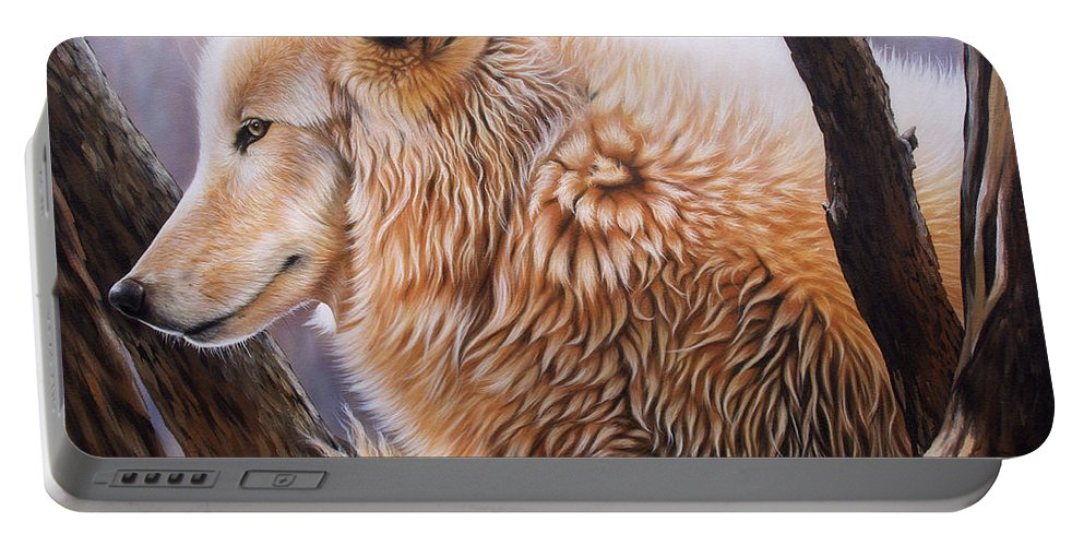 Acrylic Portable Battery Charger featuring the painting The Daystar by Sandi Baker