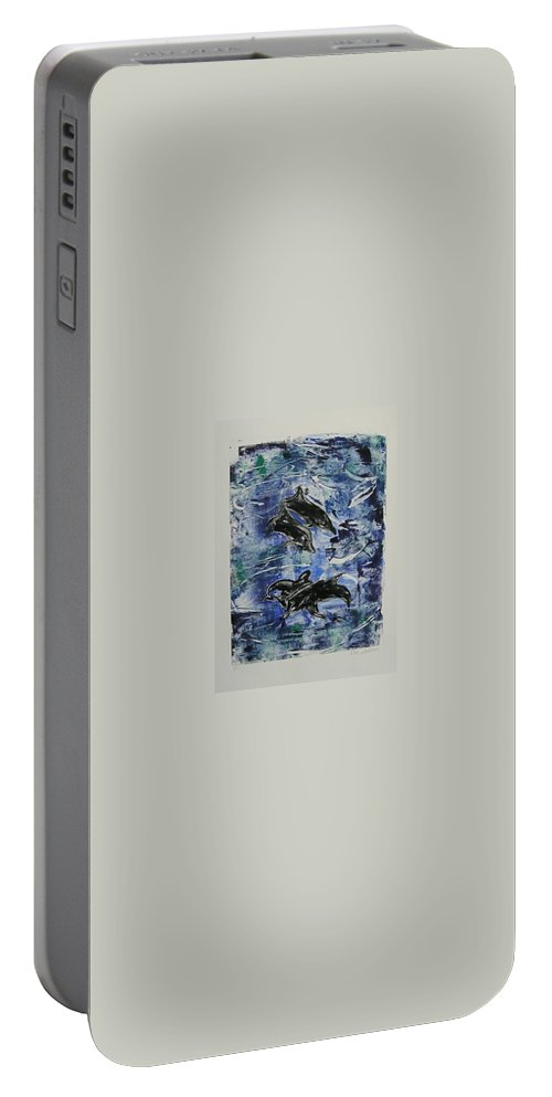Monotype Portable Battery Charger featuring the mixed media The Deep Sea by Cori Solomon