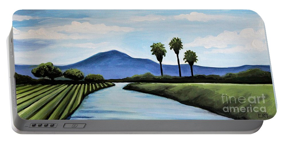 Landscape Portable Battery Charger featuring the painting The Delta by Elizabeth Robinette Tyndall