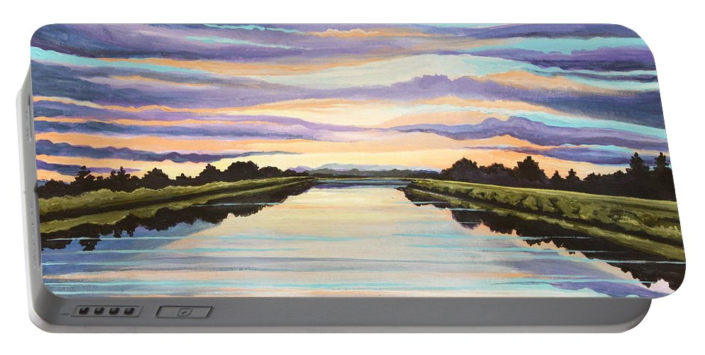 Sunset Portable Battery Charger featuring the painting The Delta Experience by Elizabeth Robinette Tyndall