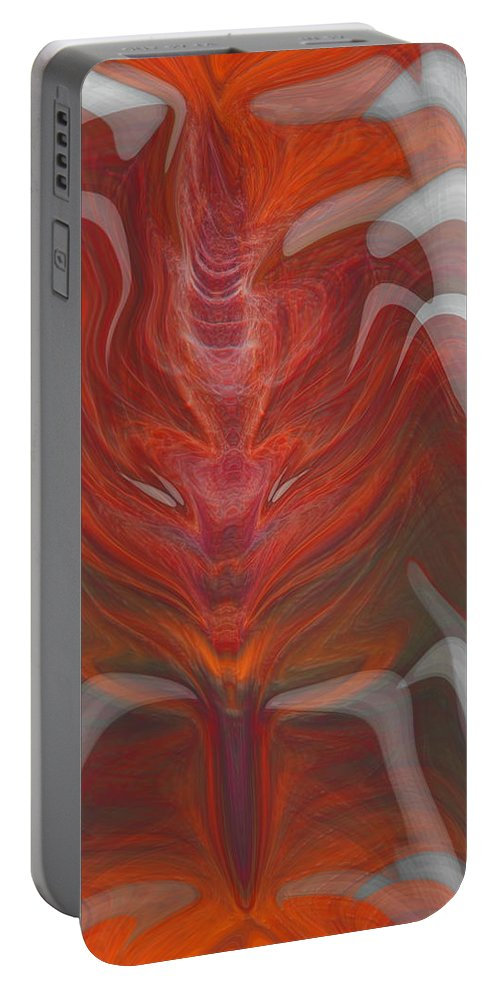 Abstract Portable Battery Charger featuring the digital art The Devil Inside by Linda Sannuti