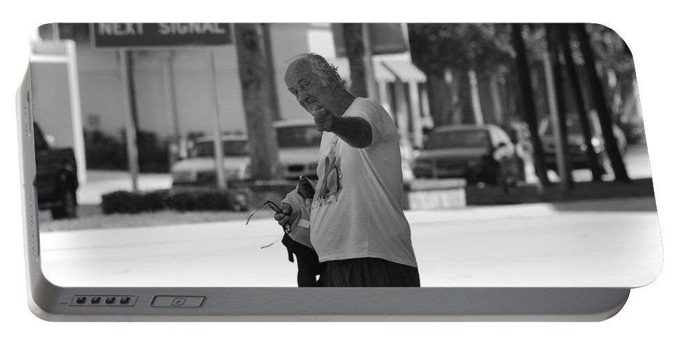 Black And White Portable Battery Charger featuring the photograph The Devil Man by Rob Hans