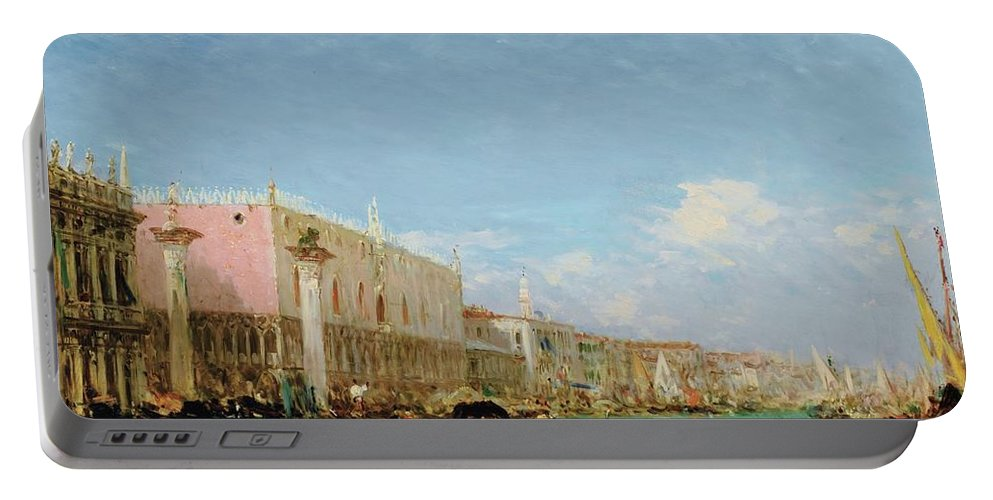 Félix Ziem 1821 - 1911 The Dock Of Slaves Portable Battery Charger featuring the painting The Dock Of Slaves by Felix Ziem
