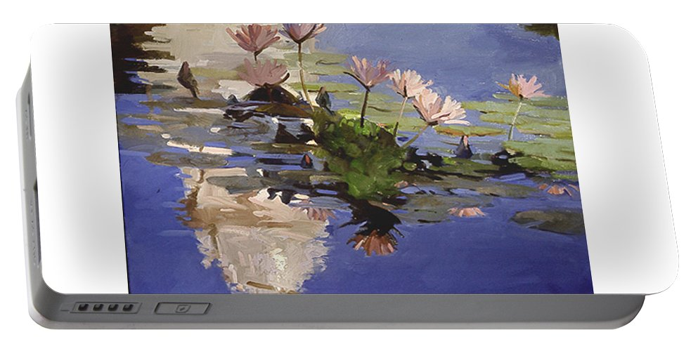 Water Lilies Portable Battery Charger featuring the painting The Dome - Water Lilies by Betty Jean Billups
