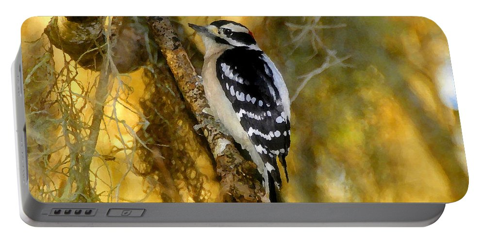 Bird Portable Battery Charger featuring the painting The Downy Woodpecker by David Lee Thompson