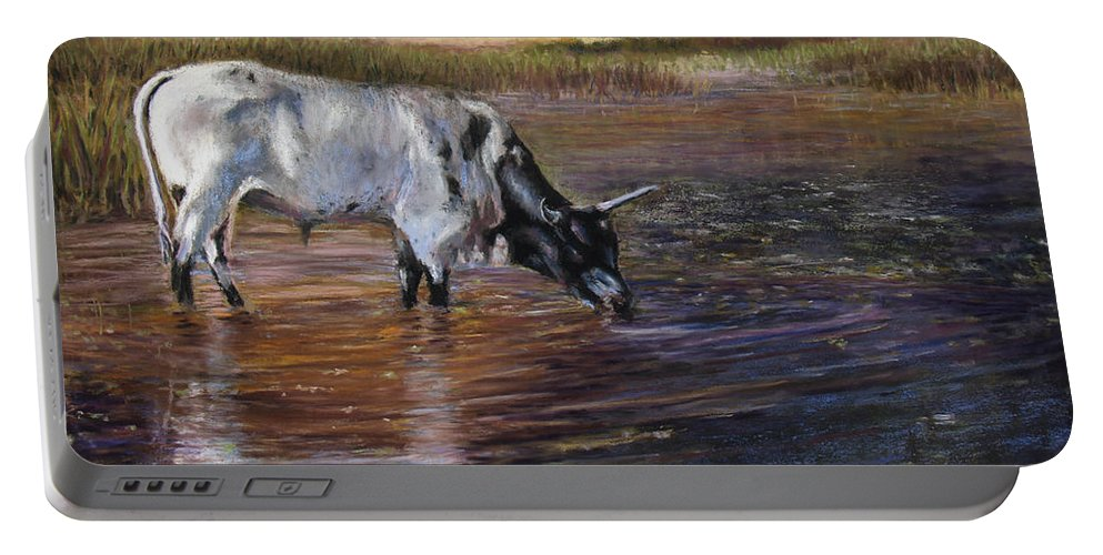 Cow Portable Battery Charger featuring the pastel The Drink by Susan Jenkins