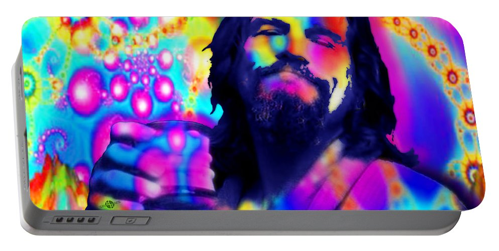 Jeff Bridges Portable Battery Charger featuring the painting The Dude The Big Lebowski Jeff Bridges by Tony Rubino