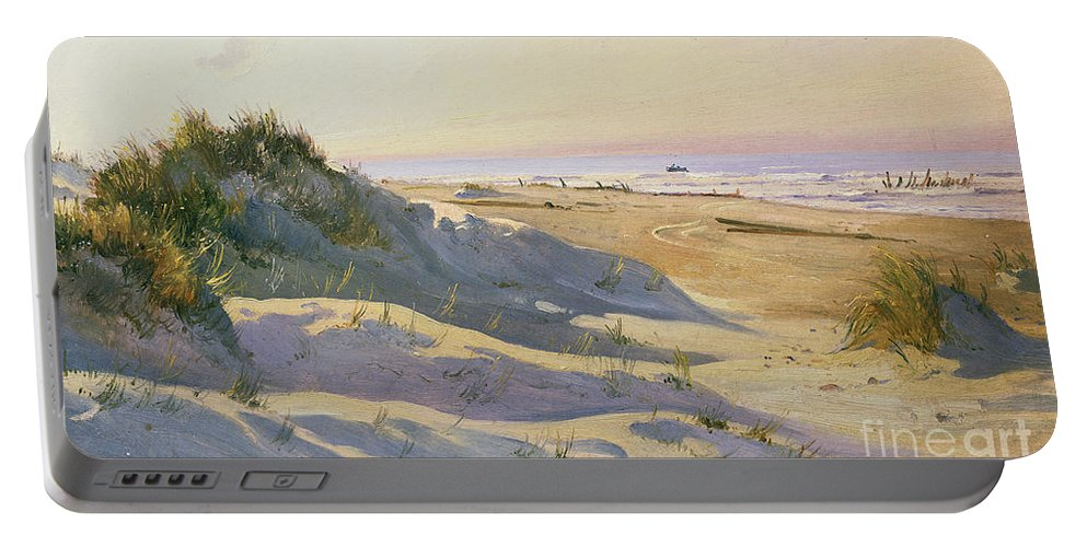 Beach Portable Battery Charger featuring the painting The Dunes Sonderstrand Skagen by Holgar Drachman