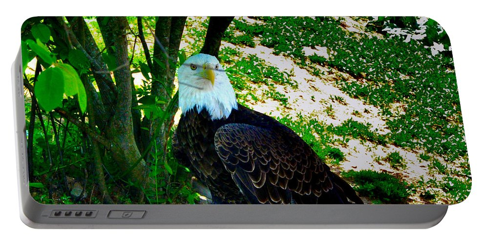 Eagle Portable Battery Charger featuring the photograph The Eagle Has Landed by Bill Cannon