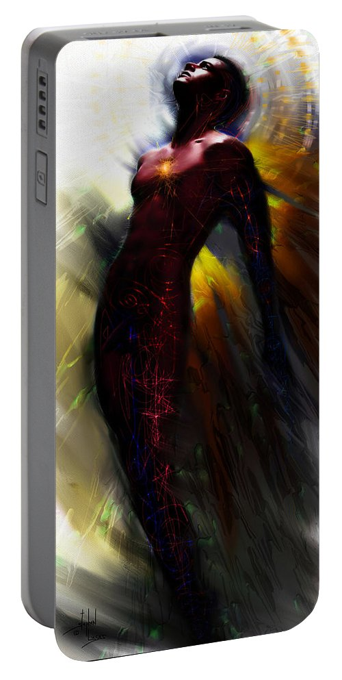 Angel Portable Battery Charger featuring the digital art The Ecstasy Angel by Stephen Lucas