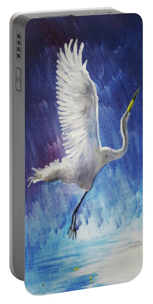 Egret Portable Battery Charger featuring the painting The Egret by Seth Weaver
