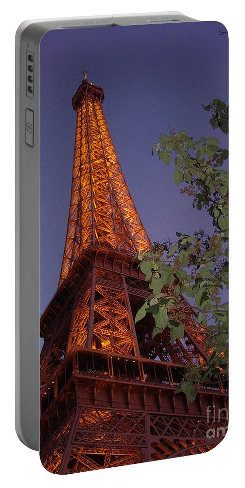 Tower Portable Battery Charger featuring the photograph The Eiffel Tower Aglow by Nadine Rippelmeyer