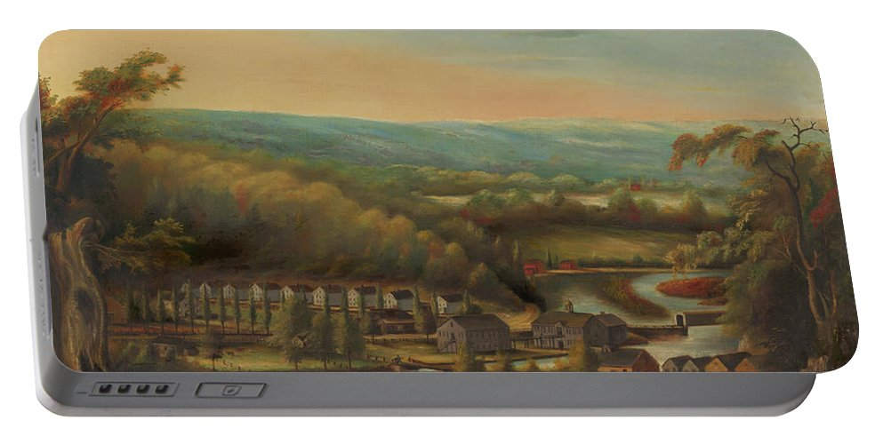 Art Portable Battery Charger featuring the painting The Eli Whitney Gun Factory by William Giles Munson