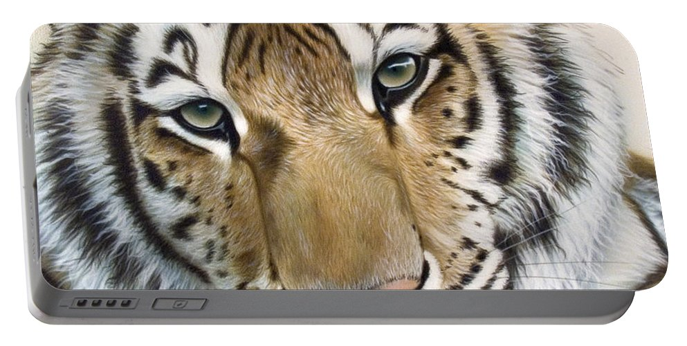 Acrylic Portable Battery Charger featuring the painting The Embrace by Sandi Baker