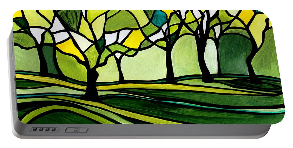 Emerald Portable Battery Charger featuring the painting The Emerald Glass Forest by Elizabeth Robinette Tyndall