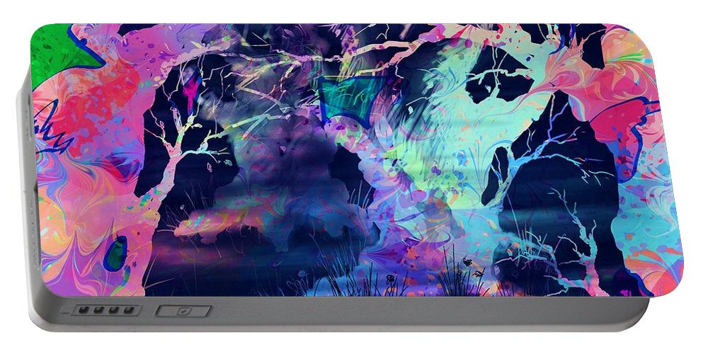 Abstract Portable Battery Charger featuring the digital art The Enchanted Wood by Rachel Christine Nowicki