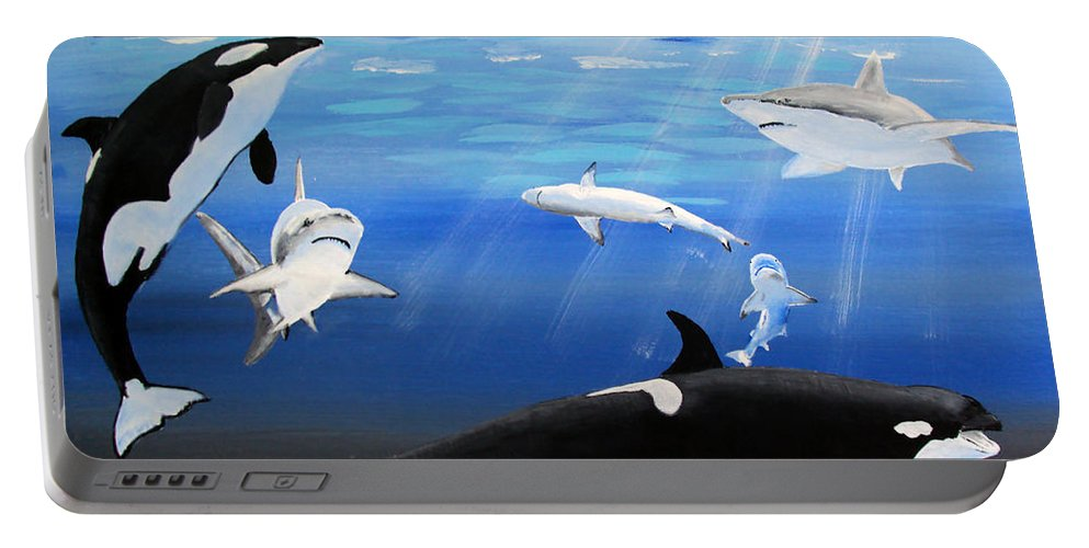 Killer Whales Portable Battery Charger featuring the painting The Encounter by Luis F Rodriguez