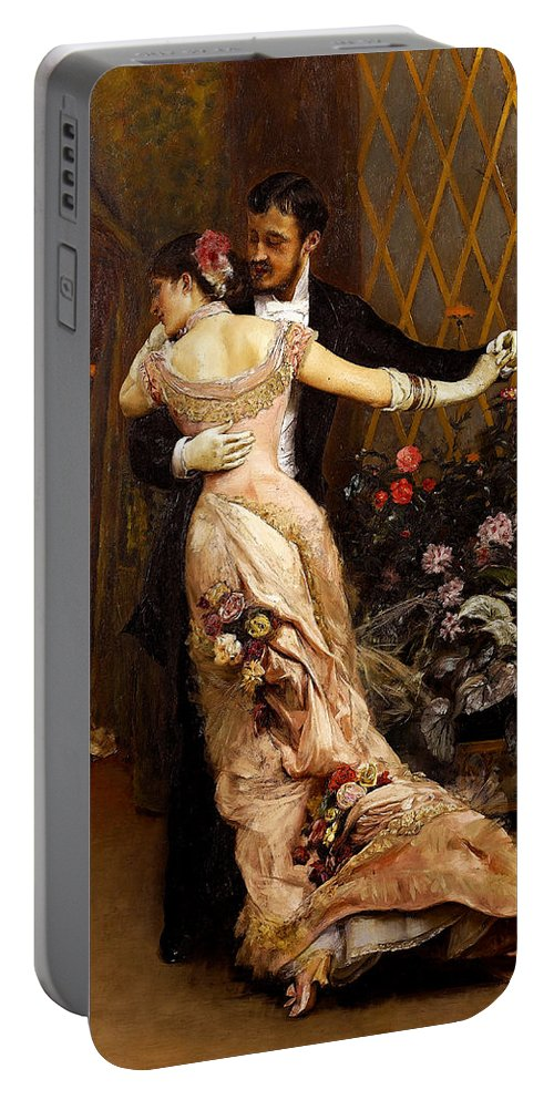 Rogelio De Egusquiza Portable Battery Charger featuring the painting The End Of The Ball by Rogelio de Egusquiza