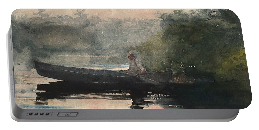 19th Century American Painters Portable Battery Charger featuring the painting The End Of The Day Adirondacks by Winslow Homer