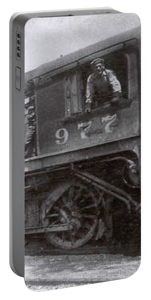 Old Photo Black And White Classic Saskatchewan Pioneers History Train Engineer Portable Battery Charger featuring the photograph The Engineer by Andrea Lawrence