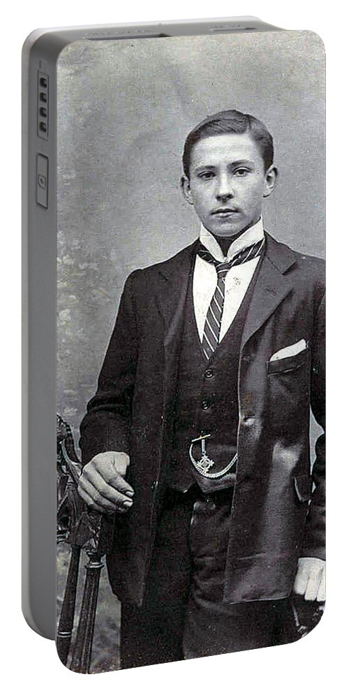 Old Photo Black And White Classic Saskatchewan Pioneers History Young Man Boy Portable Battery Charger featuring the photograph The Entreprenuer by Andrea Lawrence
