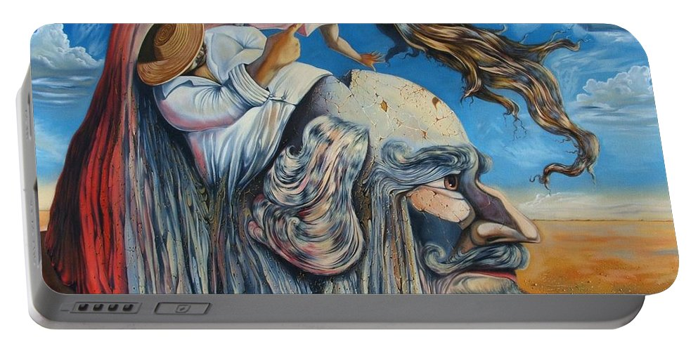 Surrealism Portable Battery Charger featuring the painting The Eternal Obsession Of Don Quijote by Darwin Leon