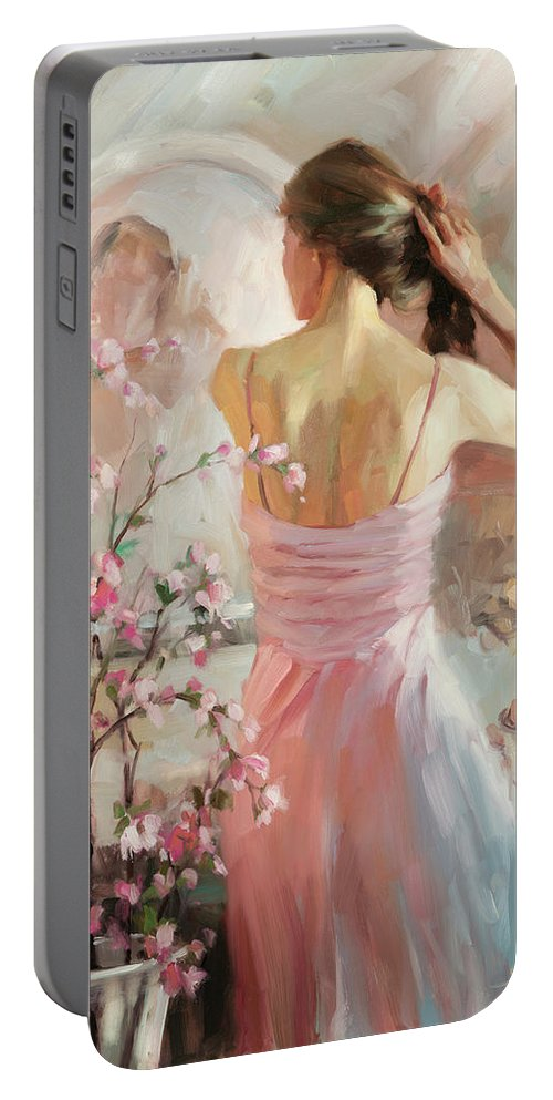 Woman Portable Battery Charger featuring the painting The Evening Ahead by Steve Henderson