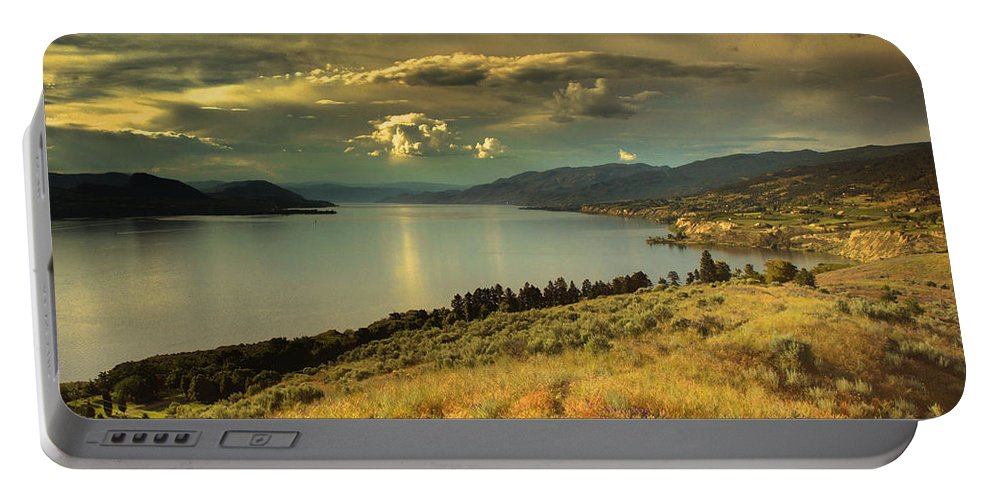 Lake Portable Battery Charger featuring the photograph The Evening Calm by Tara Turner