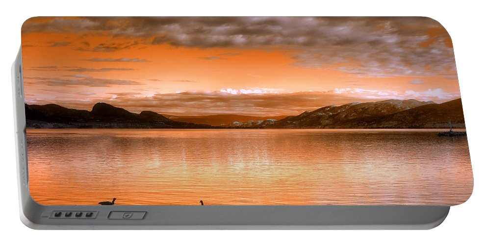 Clouds Portable Battery Charger featuring the photograph The Evening Geese by Tara Turner