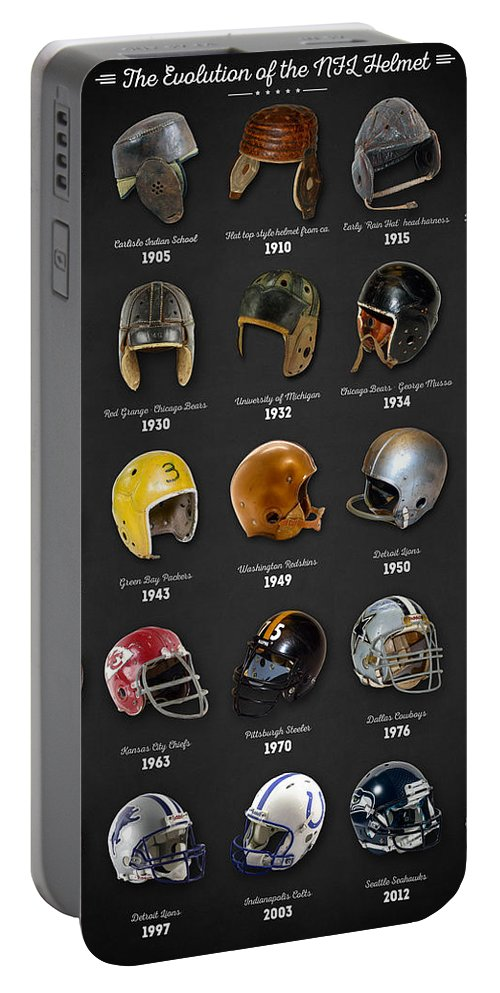 Nfl Portable Battery Charger featuring the digital art The Evolution Of The Nfl Helmet by Zapista