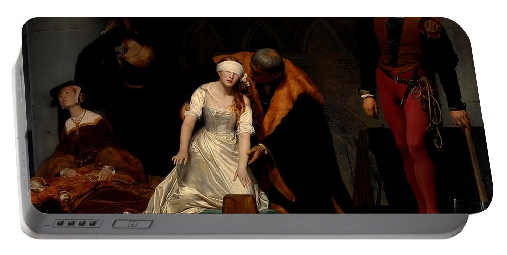 Paul Delaroche Portable Battery Charger featuring the painting The Execution Of Lady Jane Grey In The Tower Of London In The Year 1554 by Paul Delaroche