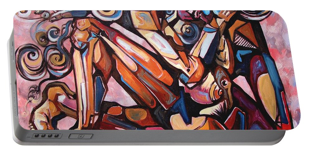 Surrealism Portable Battery Charger featuring the painting The Expressive Muse by Darwin Leon