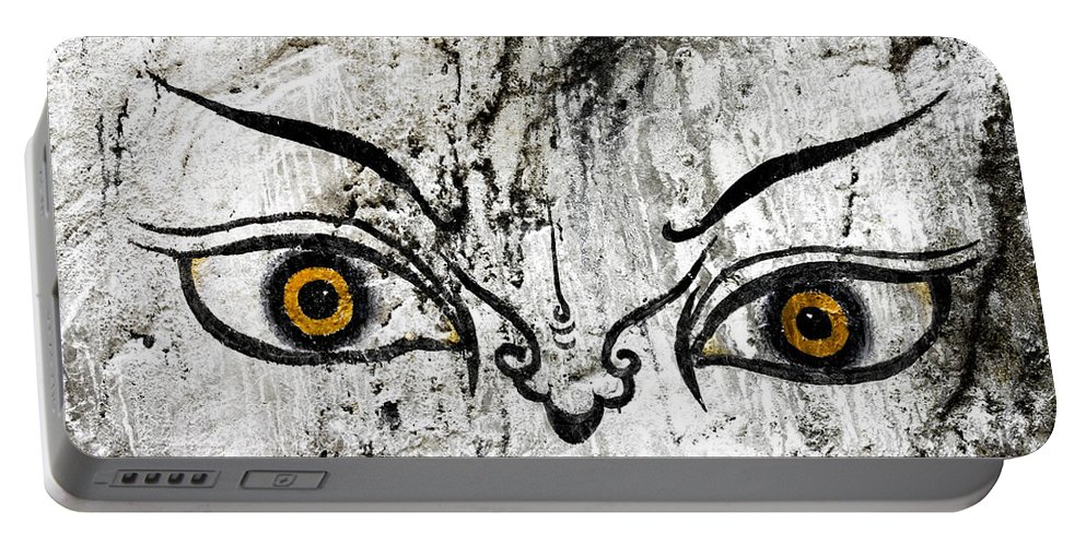 Bhutan Portable Battery Charger featuring the photograph The Eyes Of Guru Rimpoche by Fabrizio Troiani