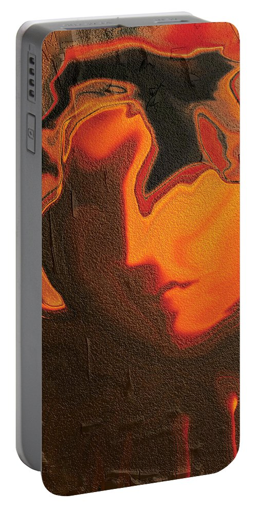 Abstract Portable Battery Charger featuring the digital art The Face 2 by Rabi Khan