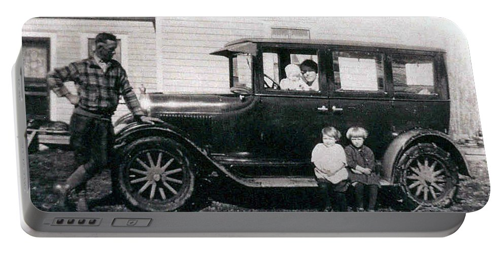 Black And White Photo Old Car Classic 1927 Kids Children Homestead Family Pioneers Prairies Portable Battery Charger featuring the photograph The Family Car by Andrea Lawrence