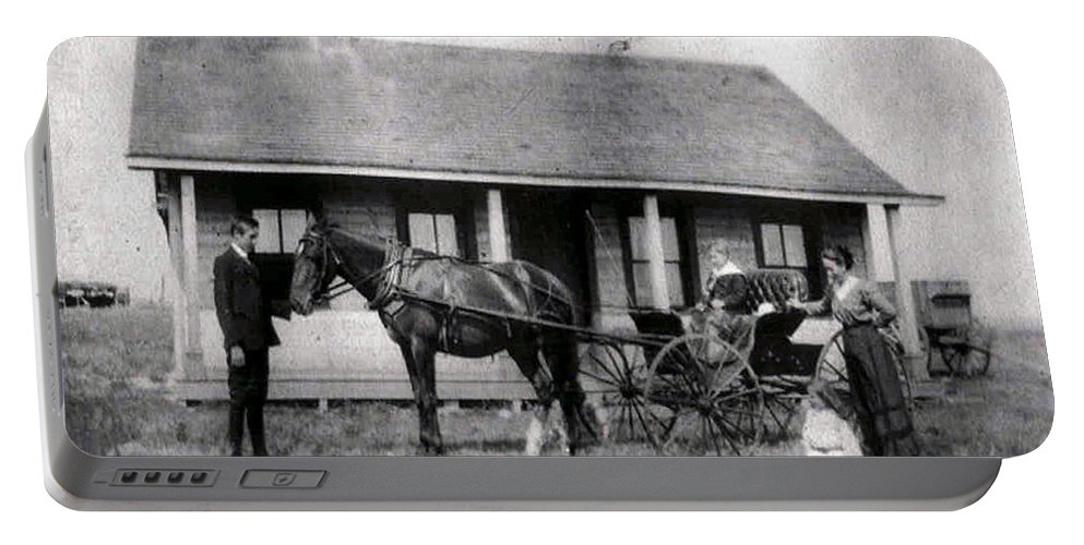 Old Photo Black And White Classic Saskatchewan Pioneers History Horse And Buggy Carriage Portable Battery Charger featuring the photograph The Family Ride by Andrea Lawrence