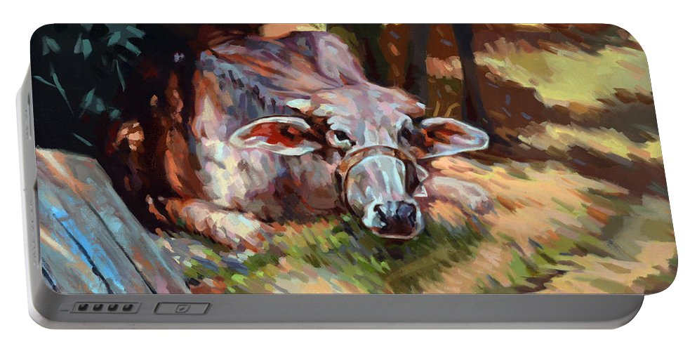Impressionism Portable Battery Charger featuring the painting The Farm by Ahmed Bayomi