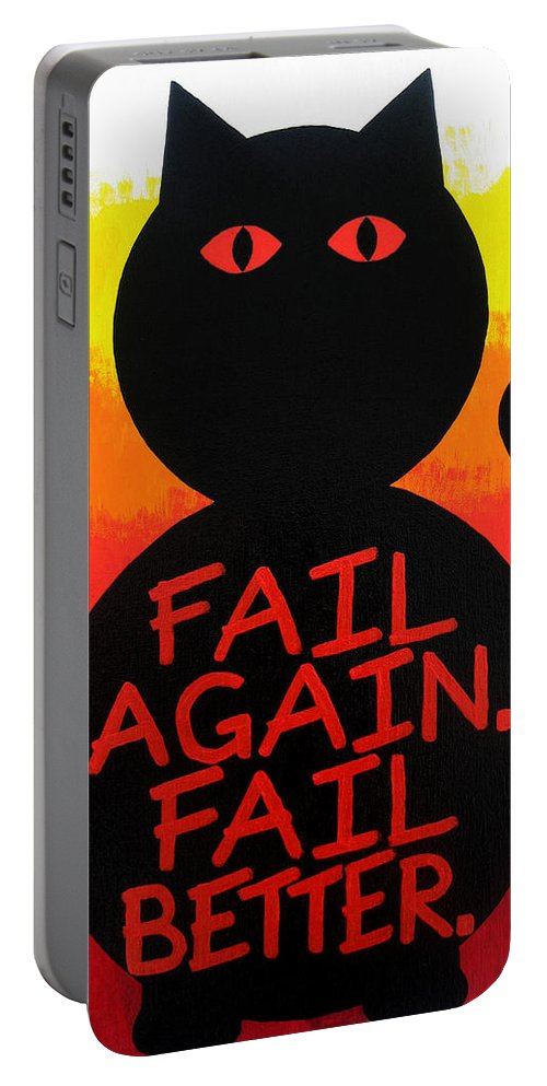 Abstract Portable Battery Charger featuring the painting The Fearline Of Failure by Oliver Johnston