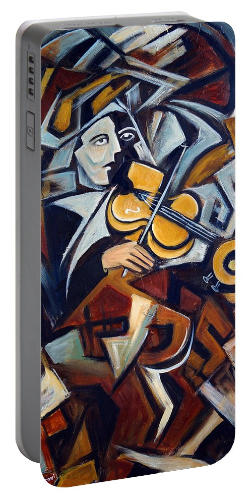 Musician Portable Battery Charger featuring the painting The Fiddler by Valerie Vescovi