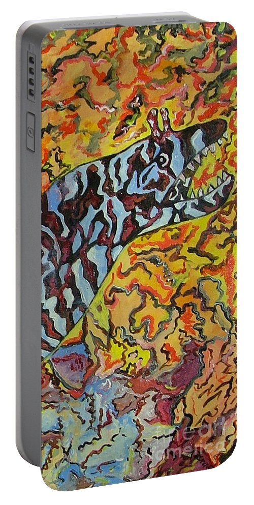 London Aquarium Portable Battery Charger featuring the painting The Fierce Eel by Heather Lennox