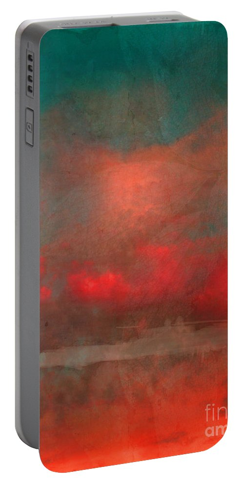 Abstract Portable Battery Charger featuring the photograph The Fire Clouds by Tara Turner