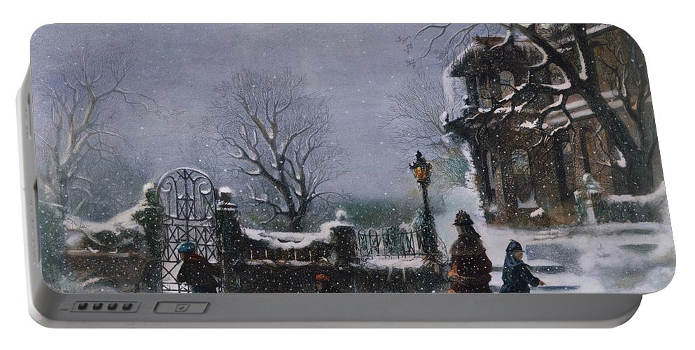 1877 Portable Battery Charger featuring the painting The First Snow, 1877 by Granger