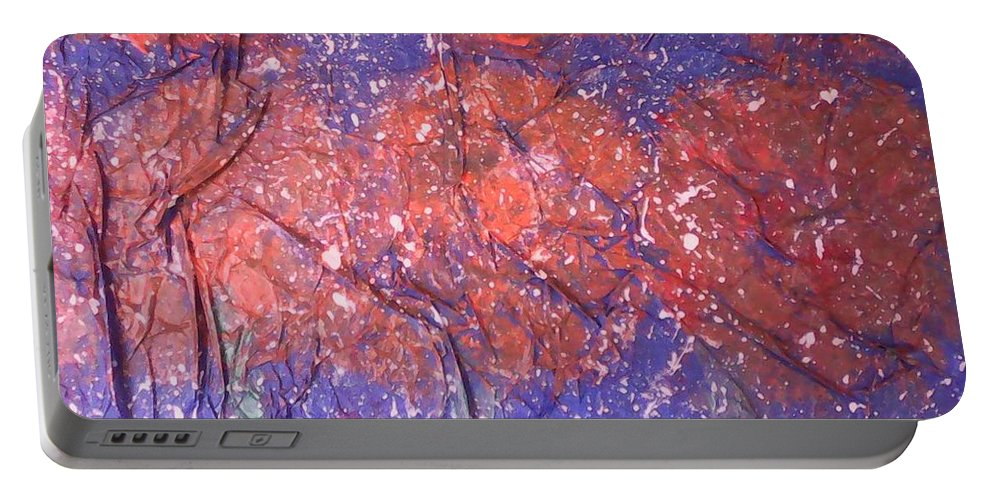 Abstract Art Portable Battery Charger featuring the painting The First Snow On My Garden by Marcela Hessari