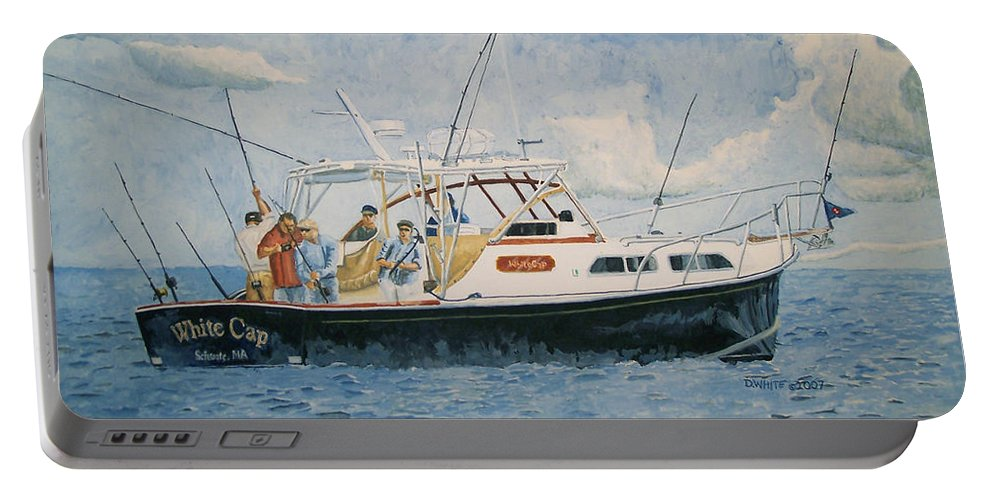 Fishing Portable Battery Charger featuring the painting The Fishing Charter - Cape Cod Bay by Dominic White