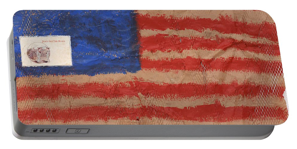 Flag Portable Battery Charger featuring the mixed media The Flag by Jaime Becker
