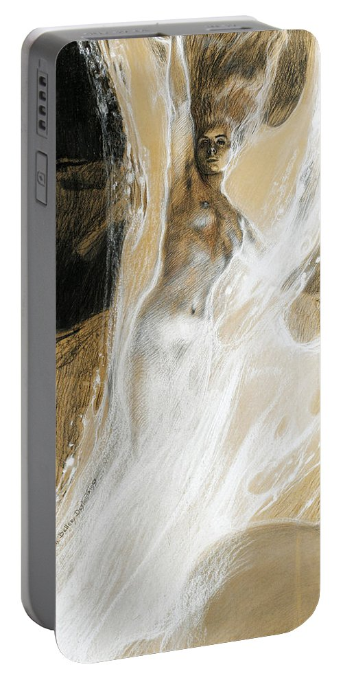 Henri Bellery-desfontaines Portable Battery Charger featuring the drawing The Flame by Henri Bellery-Desfontaines