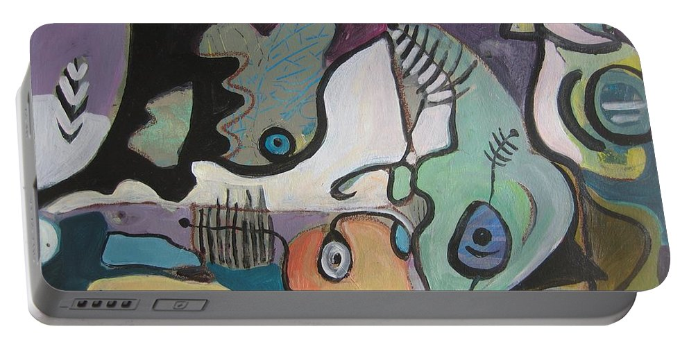 Flat Rock Paintings Portable Battery Charger featuring the painting the Flat Rock by Seon-Jeong Kim