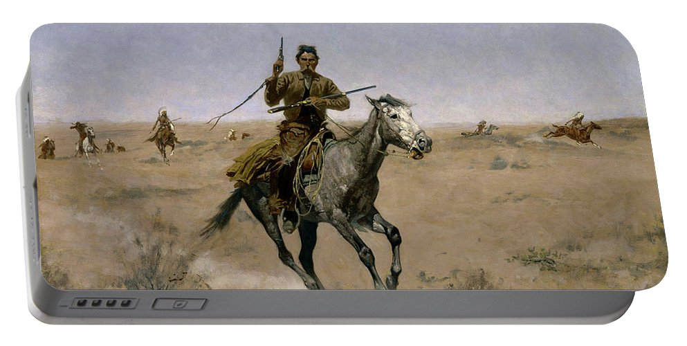 Horses Portable Battery Charger featuring the painting The Flight by Frederic Sackrider Remington