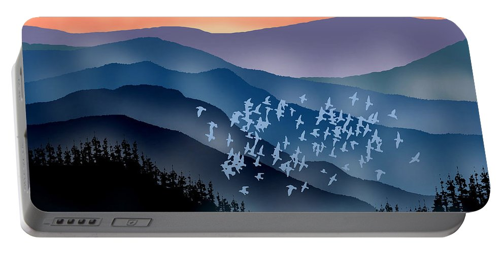 Birds Portable Battery Charger featuring the painting The Flock by Paul Sachtleben